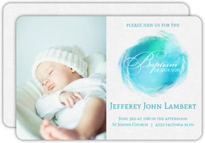 Aqua Holy Water Baptism Invitation