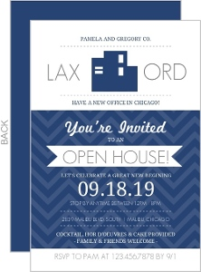 Navy Blue Office Modern Business Open House Invite