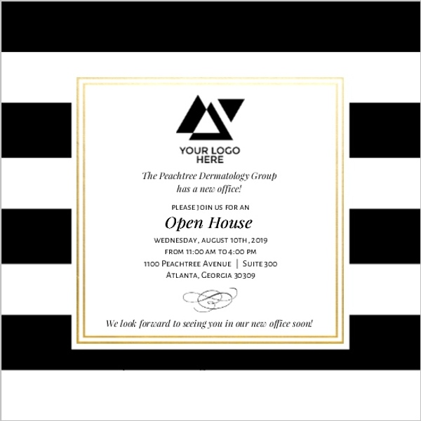 Classic Stripe Corporate Open House Invitation | Business ...