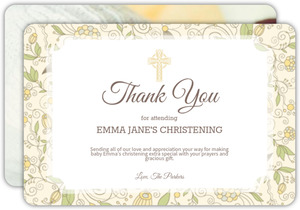 Beautiful Yellow Floral Christening Thank You Card