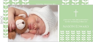 Contemporary Green Leaves Christening Invitation
