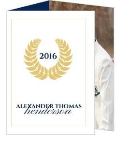 Navy and Gold Seal Graduation Invitation