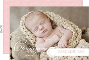 Pink Elegant Frame Christening Invitation