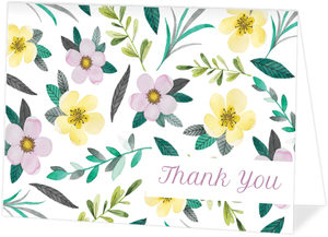Purple Watercolor Floral Thank You Card