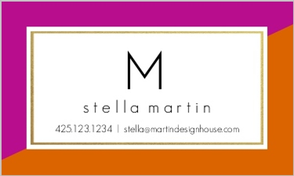 Faux Foil Monogram Business Card