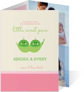 Twin Sweet Peas Christening Invitation