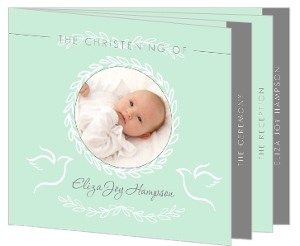 Mint and Gray Christening Booklet Invitation