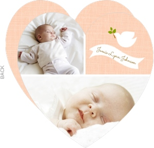 Peach Dove And Banner Photo Christening Invitation