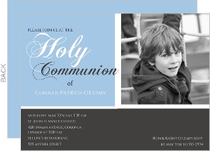 Gray And Blue Photo Holy Communion Invite