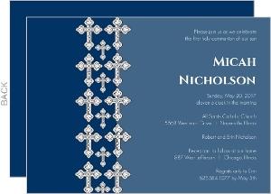 Blue Cathedral Crosses Communion Invitation