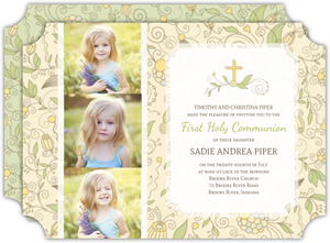 Whimsical Summer Floral Communion Invitation