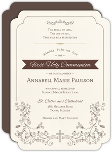 Elegant Decorative Frame Holy Communion Invitation