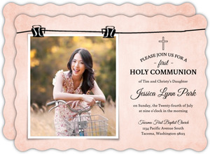 Cute Soft Pink First Holy Communion Invitation