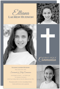 Classic Peach and Gray First Communion Invitation