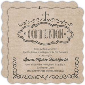 Rustic Kraft Brown Communion Invitation
