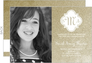 Gold Monogram First Communion Invitation