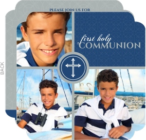Blue And Gray Photo Blocks First Communion