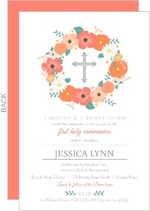 Floral Cross Monogram First Communion Invitation