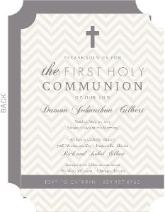 Gray and Tan Chevron Communion Invitation