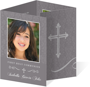 Elegant Gray Quad Fold First Communion Invitation