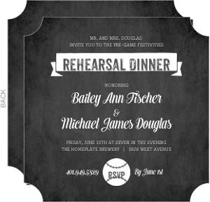 Black Rehearsal Dinner Baseball Party Invitation
