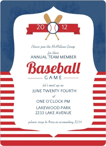Blue And Red Striped Baseball Game Invitation | Baseball ...