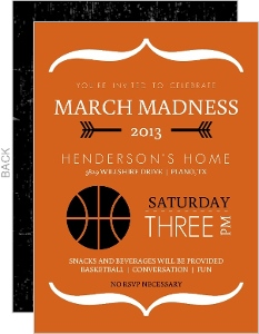 Typographic White And Orange Basketball Invitation