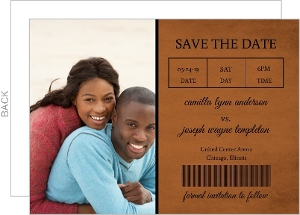 Rustic Ticket Stub Basketball Save The Date
