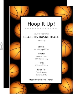 basketball party invitations, party invitations