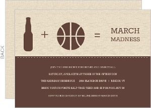Brown Modern Beer And Ball Icons Basketball Invitation