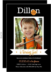 Modern Ball And Banner Basketball Invitation
