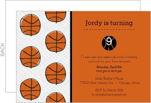 Black And Orange Sketch Basketball Invitation