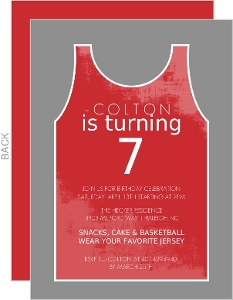 Red And Gray Jersey Party Basketball Invitation