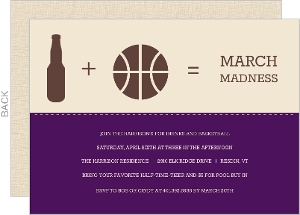 Purple Modern Beer And Ball Icons Basketball Invitation