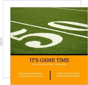50 Yard Line Football Invitation