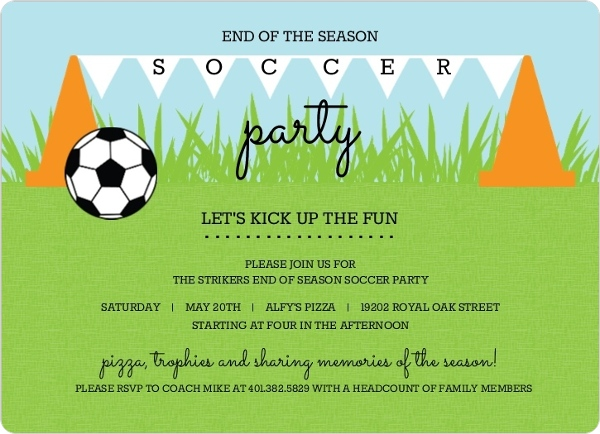 cones and flags soccer party invitation - Invitation To Party