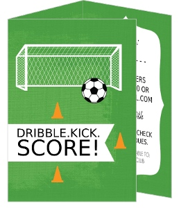 Season Kick Off Cones And Ball Soccer Party Invitations