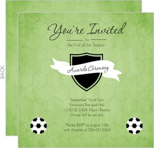 Green Shield Soccer Award Ceremony Party Invitation