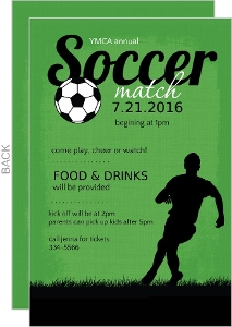 Green And Black Soccer Match Sports Party Invitation - 6497