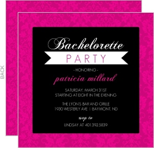 Pink Elegant Damask Bachelorette Party Invitation