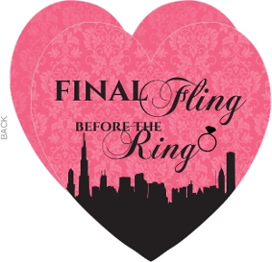 Pink and Black In the City Fling Bachelorette Party Invitation