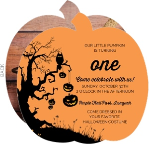 Tree Pumpkin Photo Halloween Birthday Invitation