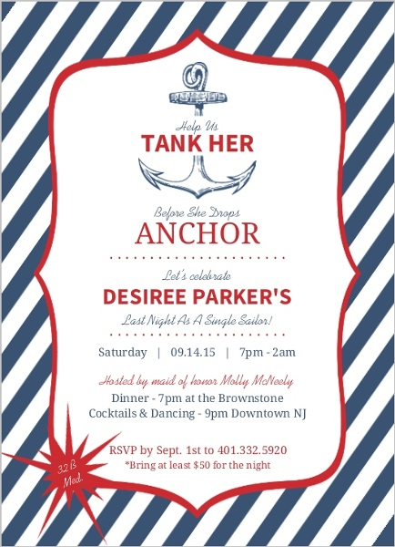 Blue And Red Anchor Tank Her Bachelorette Party Invitation – Red Party Invitations