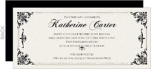 Elegant Vintage Halloween Birthday Invitation