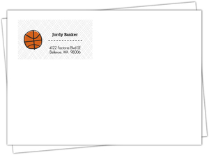 Black And Orange Sketch Basketball Address Label
