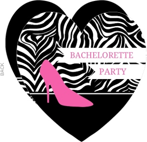 Zebra And Pink High Heel Bachelorette Party Invitation