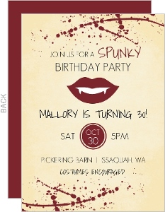 Rustic Vampire Bite Halloween Birthday Invitation