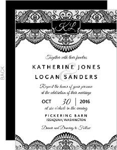 Black Lace with Initials Halloween Wedding Invitation