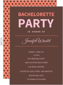 Chocolate Pink Bachelorette Party Invitation