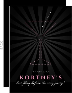 Black And Pink Dashed Martini Bachelorette Party Invitation